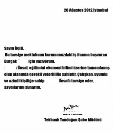 Tavsiye - referans mektubu